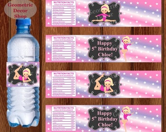 Water Bottle Labels Birthday Printable Gymnastics Gymnastic Party Printable Girl Pink Purple Party pink purple WLG1