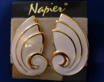 """Napier NOS Earrings c.1980s Enamel Retro Vintage 2"""" x 2"""" Excellent"""