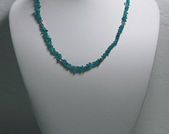 Neon Blue Apatite Necklace with sterling silver beads 17inch 52ct