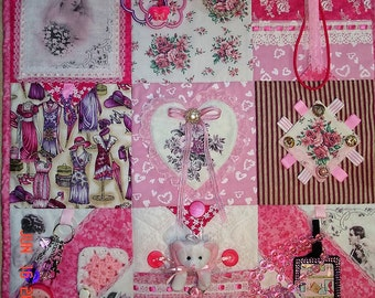 To be made Victorian SHABBY Chic PINK Fidget Activity Tactile Sensory Quilt Alzheimers autistic dementia anxiety brain trauma pt