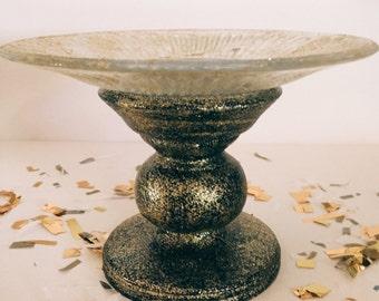 "Handmade ""Midnight Twinkle"" Black with Gold Glitter Cupcake Display"