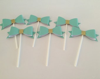 Handmade Turquoise/Mint Blue and Gold Bowtie Cupcake/Cake Toppers