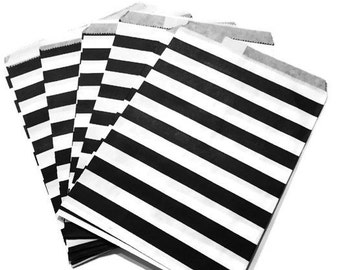 Black & White Striped Paper Party Favor Bags