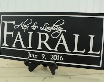 Last Name Sign Carved Family Name Sign Wedding Gift Anniversary Gift Housewarming Gift