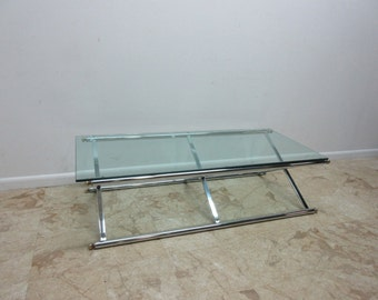 Long Vintage Mid Century X Base Chrome Regency Campaign Glass Top Coffee table