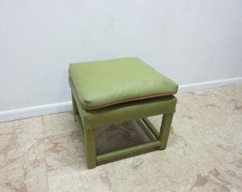 Vintage Mid Century Naugahyde Vinyl Parson Foot Stool Ottoman Bench  A