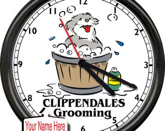 Dog Groomer Pet Shop Grooming Personalized Salon Bath Time Sign Gift Wall Clock