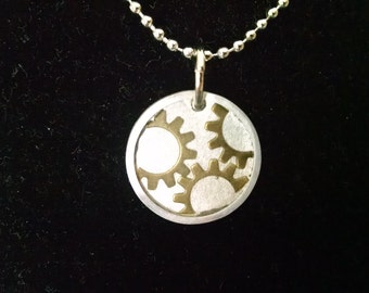 Cogs and Gears in a Circle Necklace Pendant