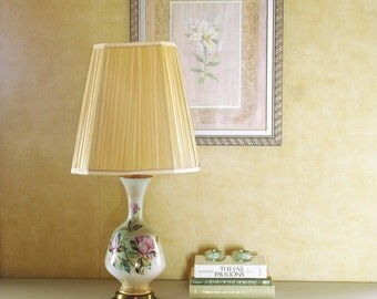 Ceramic Table Lamp with Magnolias, Floral Table Lamp Green Pink Beige