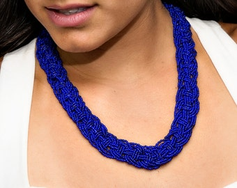 Multistrand Necklace, Statement Necklace, Seed Bead Necklace, Multistrand Braided Necklace, Macrame Weave Necklace, Cobalt Blue Bib Necklace