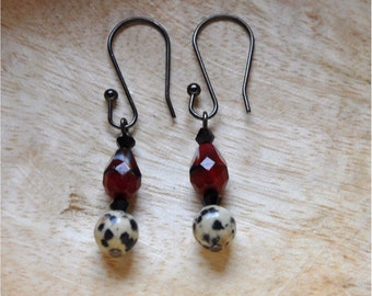 Red and White Candy Cane Dangle Earrings