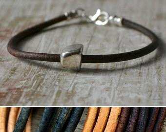 Brown leather and silver nugget bracelet, leather bracelet, leather and silver, best friend gift, 3 year anniversary gift, leather jewellery