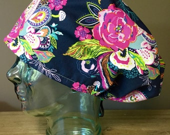 Flowers & Birds on Navy Surgical Scrub Hat, Beautiful Women's Floral European Style Scrub Cap, Modified Bouffant, Custom Caps Company