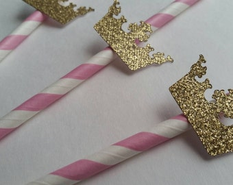 12 Glitter Crown Straws, Gold and Pink Crown Straws, Princess Straws