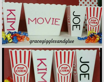 5 Personalized Reusable Popcorn/ Favor Tubs, Family  Movie Night Tubs