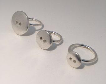 Medium Silver Button Ring