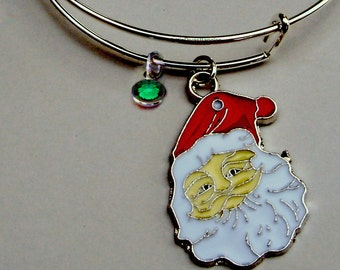 SANTA CHRISTMAS Bangle W Birthstone - Adjustable BANGLE -Personalize Your Expandable Bracelet - Gift For Her  Under 20 Usa  W1