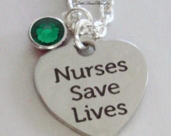 Nurses Save Lives  Necklace W/ Swarovski Birthstone Crystal  /  Nurse  Necklace / Gift For Her / Under 20  Usa   NK1