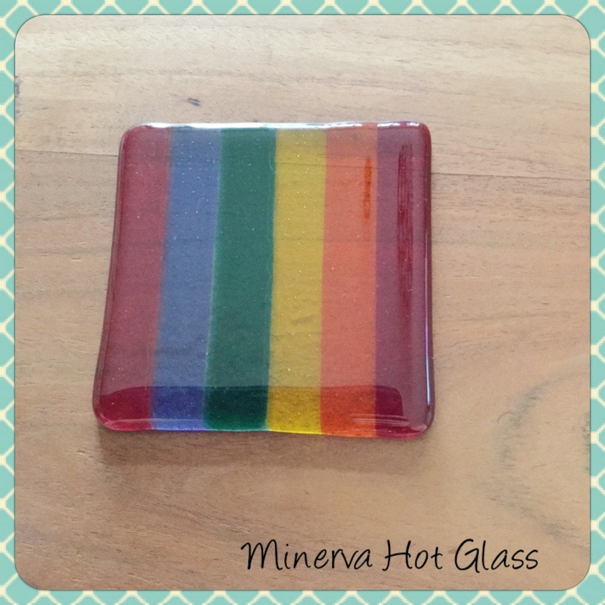 rainbow fused glass fused glass coaster glass coaster. Black Bedroom Furniture Sets. Home Design Ideas