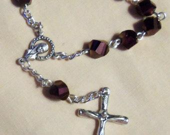 Finger Rosary/Single Decade Rosary Purplish/burgundy