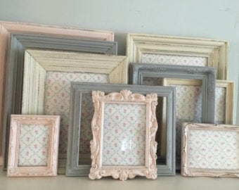 Pink, Old White, Gray Frame Collection, Shabby Chic, Painted Frame Collection, MADE TO ORDER Set