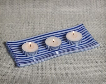 Blue and White Striped Sushi Plate/Candle Holder