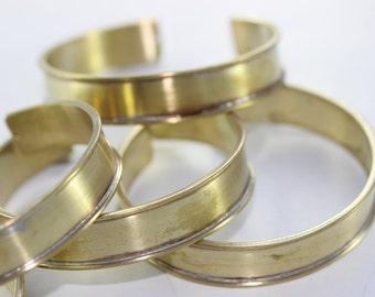 5 Pcs Handmade Wide 10mm Raw Brass Cuff Bracelet Bangle , Width Channel 10 mm, Bracelet Blank