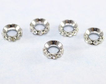 Rondelle Spacer Bead - 8 mm Silver Tone Rondelle Bead - Crystal Rhinestone - Round Spacer Beads
