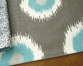 Placemats / Cloth Placemats / Dining Table Lines / Gray White Aqua Placemats / Ikat Print / Ready To Ship