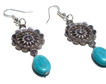 CLEARANCE * MARFA EARRINGS - Turquoise Earrings - Turquoise and Silver - Sterling Silver Earrings - Southwestern Earrings - Boho Earrings