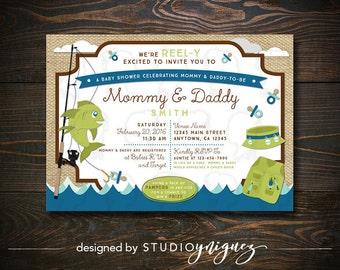 Fishing Baby Shower Printable Invitation, Reel-Y Excited Custom Baby Shower Printable Invitation