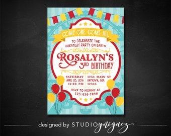 Circus Carnival Birthday Printable Invitation