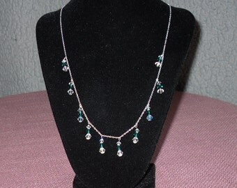 emerld and clear crystal necklace