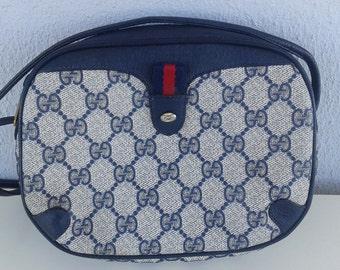 Vintage Gucci navy blue GG monogram bag shoulder bag crossbody