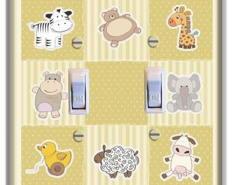 Light Switch Plate Cover Giraffe Tiger Hippo Elephnat Animal  Decor Kid Room Nursery Decor Baby Boy Girl Nursery Decoration