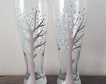 Teal tree beer glasses