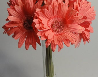"""10"""" Coral Gerbera Daisy Bouquet X 9 (Pack of 12)"""