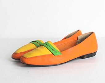 Size 8 Women's Orange Leather Loafers