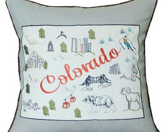 Free Shipping-Colorado State Pillow Embroidered Appliqued Pillow Case Birthday Wedding Gift Home Map Post Card Decorative Pillow