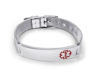 Stainless Steel Belt Buckle Medical ID Bracelet with Red Medical Logo.  Free Engraving Included.