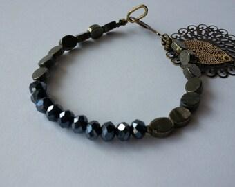 Oval Silver Gray Natural Pyrite bracelet.Faceted Black Savda bracelet.Gemstone Bracelet.Beaded Pyrite Bracelet,Delicate Bracelet.Bracelets