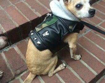 Faux Leather Dog Jacket-MILITARY PAWNK
