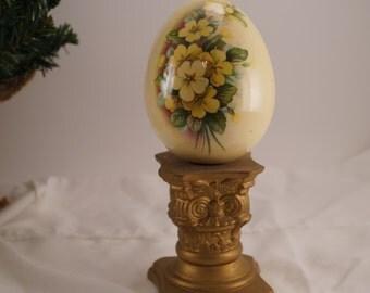 Vintage Egg with Yellow Flowers- Handmade Ceramic
