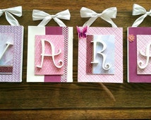 Wall letters on canvas. Wall letters on canvas. 20 x 25 cm. * price for 1 canvas * butterflies and decorative ribbons.