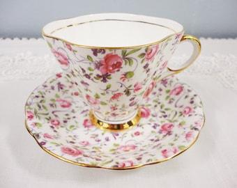Clarence Rose Chintz Bone China Teacup and Saucer