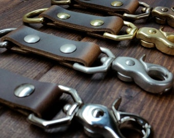 Leather Keychain, Solid Brass, Handmade Leather Keychain, Belt Clip, Jericho Classic Key Chain by Jericho Leather