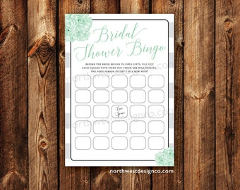 DIGITAL - Bridal Shower Bingo Mint to Be Gray Stripe Bridal Bingo Printable Download Wedding Shower Game Cards for the Bride Printable