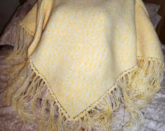 Medium hand knitted poncho style shawl made in acrylic yarn for cosy nights or bed jacket, also useful for breast feeding mothers