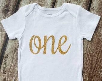Glitter Gold ONE onesie