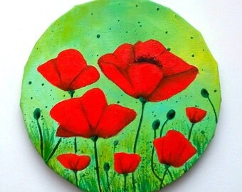 Original  painting - colorful red poppies -  hand painted poppies on circle canvas.